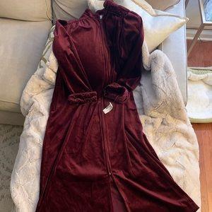 Luxurious Burgundy Velvet Floor Length Robe